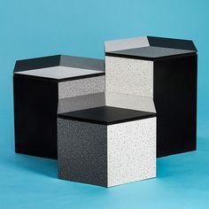 BERG hexagonal furniture pieces that use monochrome shades to distort perspective by Thorunn Arnadottir for Brúnás from DesignMarch