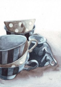 Teacups painting #Decor #art #Ceramics #Blue #Gold #Stripes #Dots