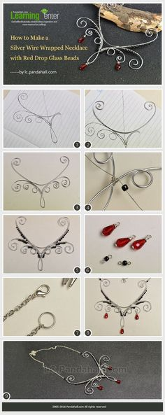 How to Make a Silver Wire Wrapped Necklace with Red Drop Glass Beads from LC.Pandahall.com