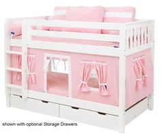 Maxtrix Kids Low Low Bunk Bed with Curtains and Tent Matrix Kids Bunkbeds