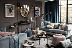"""English store John Lewis came up with just a wonderful motto for its fresh autumn collection: """"Just stay in. Why go out somewhere if the house is so ✌Pufikhomes - source of home inspiration John Lewis, Dark Grey Walls, Lounge, Room Decor, Wall Decor, Pastel, Warm, Interior Design, Room Interior"""