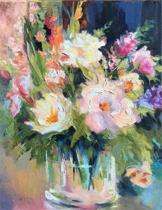 """Daily Paintworks - """"Flowers in a Glass Vase"""" - Original Fine Art for Sale - © Charlotte Fitzgerald"""