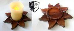 Porta Vela feito pela Du´Artes Artesanatos em formato de Sol em madeira Saboarana - Alessandro Duarte