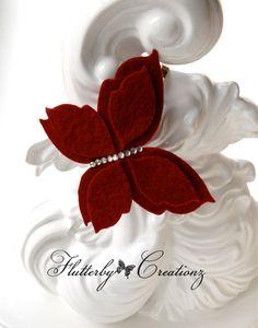 Red Felt Butterfly with Rhinestones on Silver Metal Headband