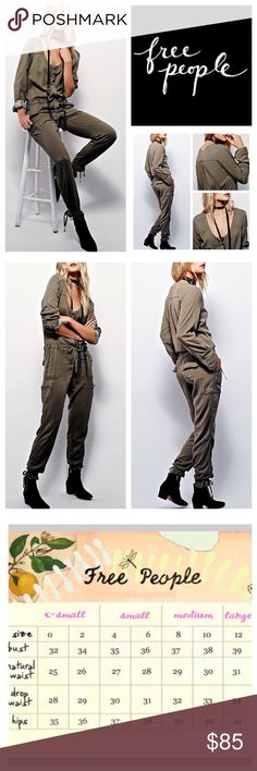"Free People Olive Break Free Jumpsuit.  NWOT. Free People Olive Army Break Free One Piece Jumpsuit, 100% rayon, machine washable, 18"" armpit to armpit (36"" all around), 32"" drawstring waist, 17.5"" arm inseam, 9"" front rise, 13"" back rise, 29"" inseam, 55.5"" length from shoulder to hem, 12"" leg opening all around, hidden front button closure, drawstring waist, six cargo-style pockets with zippers, drawstring leg hem, measurements are approx. New without tag, never worn.  NO TRADES Free People…"