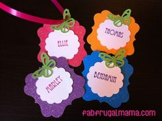Cute, customized sparkly nametags for party loot bags and more!  http://www.fabfrugalmama.com/2013/03/fancy-nancy-party-diy.html