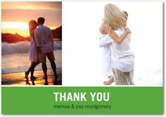 Signature White Thank You Cards Modern Love Story - Front : Green