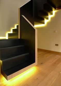 the choice of the type of the staircase and modern staircase design. Latest modern stairs designs and staircase ideas for two story homes and living room with stair railing catalogue 2019 Staircase Lighting Ideas, Stairway Lighting, Floating Staircase, Staircase Design, Wood Staircase, Spiral Staircase, Glass Stairs Design, Basement Lighting, Stair Design