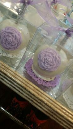 Lavender rose candy apples made by @one_skinny_baker