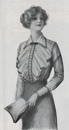 1912 shirtwaist with ruffled front and contrasting trim