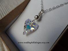 SALE  Crystal AB Wild Heart Necklace by weddingbellsdesigns, $21.00