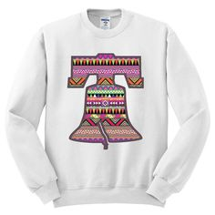 Moment Gear Aztec Pattern On Liberty Bell Mens Sweatshirt Mens Sweatshirts, Aztec, Liberty, Graphic Sweatshirt, In This Moment, Long Sleeve, Pattern, Sweaters, Fashion