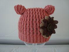 Preemie / Newborn Mauve / Pink Kitty Hat by tracywhaley08 on Etsy. $10.00 USD, via Etsy.