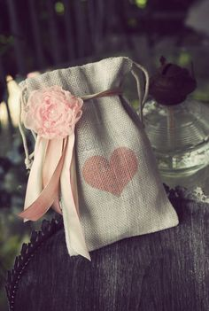 Ivory Burlap Heart Gift Bag with Chiffon Flower and Ribbon