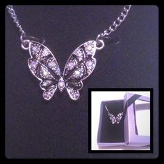 Beautiful Butterfly Necklace Color crystal stones that make it beautiful. Comes in a box so if you want to give as gift. Silver tone 18 in with extension . New! new fashion Jewelry Necklaces