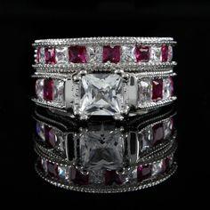 5CT PINK SAPPHIRE & DIAMOND WEDDING RING SET 10K SOLID WHITE GOLD+ BLACK DIAMOND #Jpjewels8 #Engagement