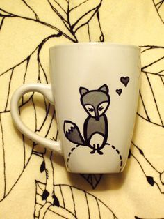 Oh, You know you're a cute little heart breaker. Foxy Lady Hand Painted Mug / Cup. $10.00, via Etsy.