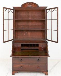 Regency Mahogany Secretaire Bookcase - Antiques Atlas Adjustable Shelving, Regency, Bookcase, Shelves, Antiques, Furniture, Home Decor, Antiquities, Shelving