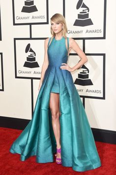 Loving the beautiful aqua hue of this Elie Saab on Taylor—it makes her gorgeous eyes pop.