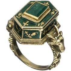 Alexis Bittar 1800's Victorian 18k Gold with Emerald and Enamel Poison... (£3,835) ❤ liked on Polyvore featuring jewelry, rings, accessories, green, gold, green gold ring, gold enamel ring, 18k yellow gold ring, green ring and victorian ring
