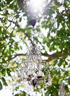 outdoor chandelier at Chateau Rigaud