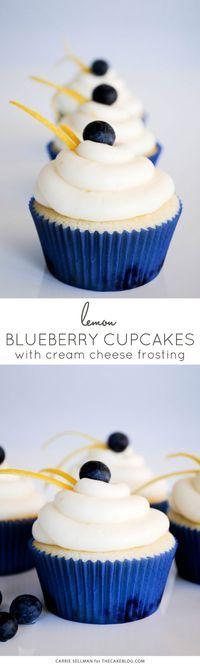 Lemon Blueberry Cupcakes with Lemon Cream Cheese Frosting  |  TheCakeBlog.com