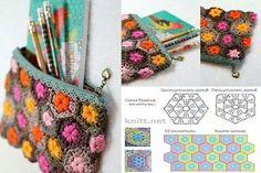 Estuche/cosmetiquera Crochet Coin Purse, Crochet Pouch, Crochet Purses, Crochet Granny, Crochet Motif, Crochet Stitches, Knit Crochet, Crochet Patterns, Crochet Bags
