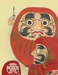 Daruma dolls are sold without the eyes painted in. At New Year time, before getting married, and at other important junctures in life, many Japanese individuals buy a Daruma doll, make a wish, paint in the left eye, then put the doll on their home altar or bookshelf. If, during the year, they are able to achieve their goal, they paint in the right eye while giving thanks