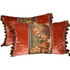 Melissa Levinson Antiques - Pair of 18th C. Tapestry Pillows with... ❤ liked on Polyvore