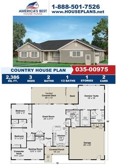 Fall in love with a Country home design, Plan 035-00975 is highlighted by 2,386 sq. ft., 3 bedrooms, 2.5 bathrooms, a vaulted covered deck, a large walk in closet, the split bedroom layout. Visit our website, for more information about this design. Country House Design, Country House Plans, Best House Plans, Slab Foundation, Concrete Footings, Floor Plan Drawing, Cost To Build, Dormer Windows, Construction Drawings