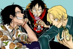 Sabo, Luffy, and Ace ONE PIECE Art coloring by J.B (julibcom_)