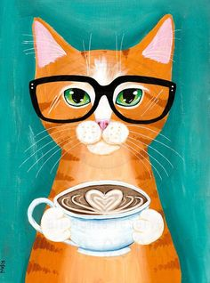 "A Latte of Love Ginger Cat Original Folk Art Painting ""A Latte of Love, 2""  -Painted with Golden acrylics. -7.25"" x 10"" Piece of Pine -Topped with two coats of gloss varnish. -Signed, titled, and dated on the back by Ryan Conners!  This ginger tabby cat is offering up a latte of love! =)"