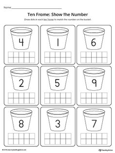 **FREE**Ten Frame: Show the Number Worksheet. Practice identifying the value of a number using ten-frames. This printable activity is ideal for introducing number sense to preschoolers.