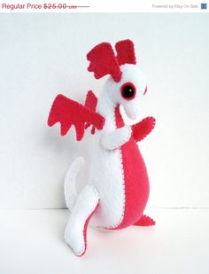 ON SALE NOW Baby Dragon felt plush stuffed by LiveDreamCreate1