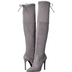 GUESS Akera (Gray) Women's Boots ($139) ❤ liked on Polyvore featuring shoes, boots, knee-high boots, stiletto boots, pointy-toe boots, faux-fur boots, guess? boots and knee boots