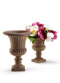 Rust brown fiberglass urn formal garden landscaping classic wedding 9 12in 12in rust fiberglass urns junglespirit Image collections