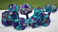 Bridal Brooch Bouquet Package Aquarium Beach Wedding Package Purple Teal Emerald Crystal Seahorse Starfish Shell Broach Toss and Bridesmaid Bouquets https://www.etsy.com/listing/478128127/reserved-for-briana-balance-payment www.secretgardenbouquets.com