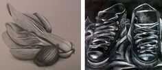 IGCSE Drawings: a black and white pencil drawing on grey paper by Georgia Shattky and a white charcoal drawing on black paper by Nikau Hindin.