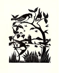 1934 Vintage Print by Robert Gibbings, St Kevin and the Birds, Saint, Swallows, Rabbits, Nature, uk