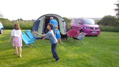 Barn Farm campsite!  Pink T5 and Outwell Concorde tent.