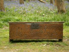 Great folky look, like many early New England board chests. Found on Antique Hadden.