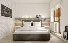 Przyjemna, a jednocześnie oryginalna aranżacja sypialni z motywem białych cegieł oraz charakterystycznym surowym...