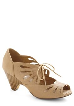 Lace Me Up Before You Go-Go Heel in Tan - Mid, Tan, Solid, Cutout, Vintage Inspired, 20s, 30s, Lace Up, Peep Toe