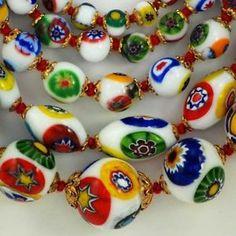 Murano Glass Venice Italy | ... Murano Glass Millefiori Bead Necklaces Made in Venice Italy | eBay