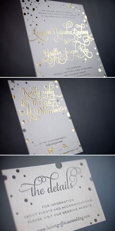 If you are including metallic details in your wedding day, consider using a gold foiling printing technique for your invitations Wedding Invitation Trends, Silver Wedding Invitations, Wedding Stationary, Wedding Trends, Invitation Design, Wedding Paper, Wedding Cards, Our Wedding, Free Wedding
