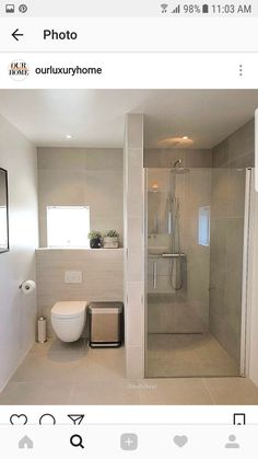 Pin by Sharon Sharkey on Bathroom in 2019 Bathroom Design Small, Bathroom Layout, Bathroom Interior Design, Interior Livingroom, Bathroom Toilets, Laundry In Bathroom, Master Bathroom, Modern Shower, Modern Bathroom