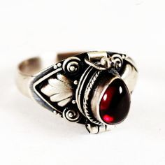 Poison Ring with Tear Drop Red Garnet Stone, Sterling Silver Chamber Ring, Size 6.5 $42.00