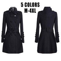 Women's Stylish Stand Collar Peacoat Trenchcoat Outwear