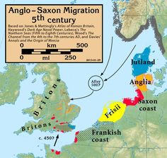 century Anglo-Saxon migration/invasion to Britain. This map shows their origins according to Bede who wrote some 300 years after the events, but seems to have been generally correct. Uk History, European History, British History, Family History, European Tribes, Scotland History, Vietnam History, History Education, Teaching History