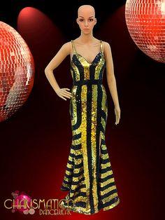 CHARISMATICO Floor Length V-Neck Metallic Blue Sequin Fringe Drag Queen Gown